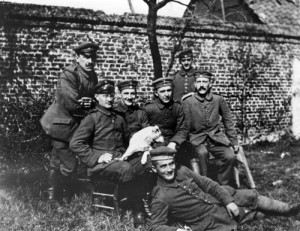 Hitler with fellow soldiers before his rise to power, sitting on the far left.[3]