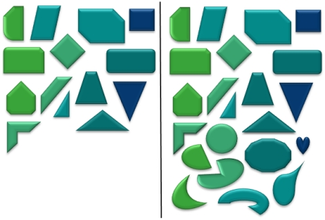 On the left we found square-like shapes vs. triangle-like shapes to be a meaningful categorization scheme based on comparative fit. On the right, where the 'frame of reference' was extended, we found straight shapes vs. round shapes to be an alternative meaningful categorization scheme.